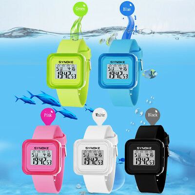 Children Kids Unisex Digital LED Sports School Boys Girls Waterproof Wristwatch