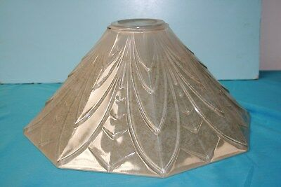 Octagonal Tapered Art Deco Style Glass Light Shade Coloured With Green Tinge
