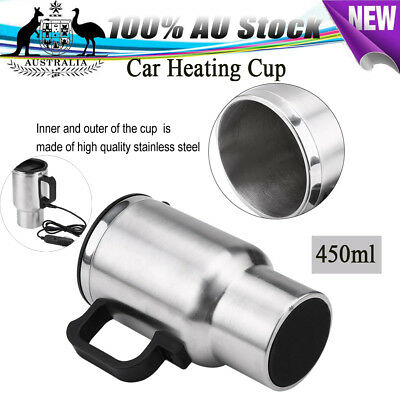 12V Car Heating Thermos Travel Mug Coffee Tea Heater Cup Stainless Steel