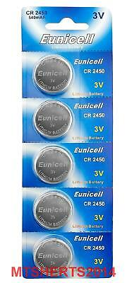 5x Eunicell CR2450  DL2450 3v Lithium Button Coin Cell Battery Batteries OX12