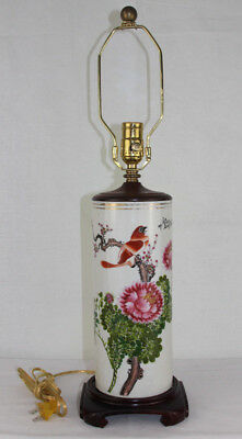 Vtg Antique Chinese Porcelain Cylinder Vase with Stand Converted to Lamp w/ Bird