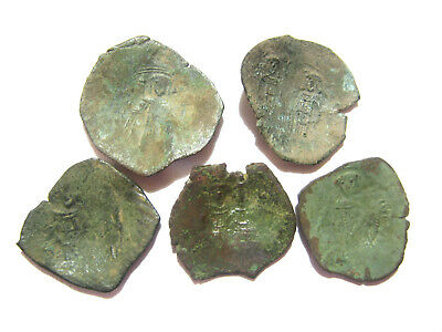 Lot of 5 Byzantine Bronze Cup Coins
