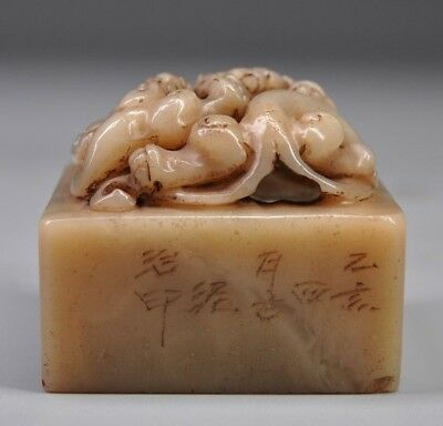 7754 Chinese Exquisite Hand-carved Dragon beast carving Shoushan Stone seal