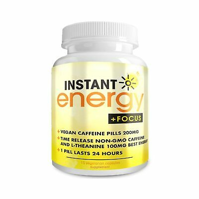 Instant Energy and Focus Supplement - Vegan Caffeine Pills 200mg - Time Relea...