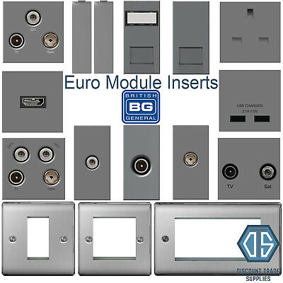 BG Brushed Steel Grey Euro Data Module Inserts HDMI TV SAT Cat5 Cat6 USB Media