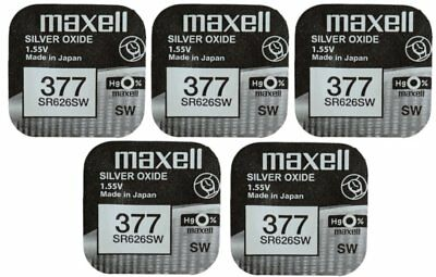 5x Maxell SR626SW SR626 377 AG4 Silver Oxide 1.55 Button Cell Watch Batteries