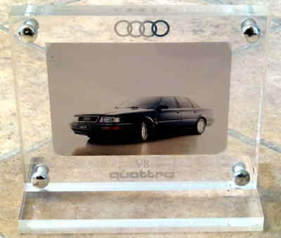 1988 Heavy Acrylic Audio V8 Quattro Dealerership Desk Advertising Promo Sign