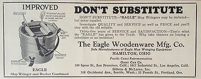 Vintage 1930 Ad(F18)~The Eagle Woodenware Mfg. Co. Wringer & Bucket, Hamilton, O