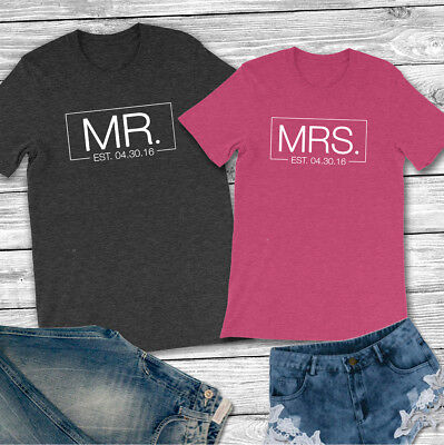 d07433a85 PERSONALIZED TEE MR. and Mrs. with Est. Date - Unisex T-Shirt Couple ...