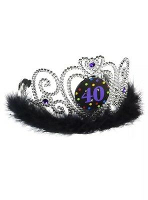 """The Party Continuous 40th Birthday Party Flashing Tiara , Silver/Black , 4"""" x 5"""