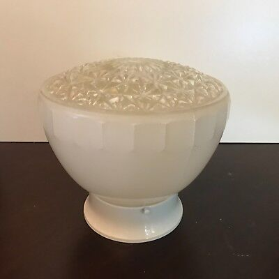 Antique Art Deco clear frosted glass shade flush mount new chrome fixture