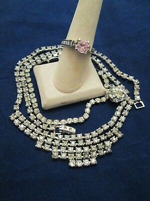 Vintage Rhinestone Jewelry Collection Bracelet Necklace Ring Glam Estate Lot