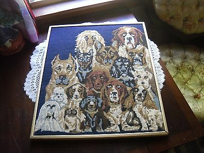 "Vintage Handmade Needlepoint Framed A LOT of DOG Breeds w/Gold Accents 18"" x 15"""