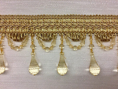 "3/"" Crystal Beaded Tassel Fringe Trim      Brown /& Gold     TF-28//8-12"