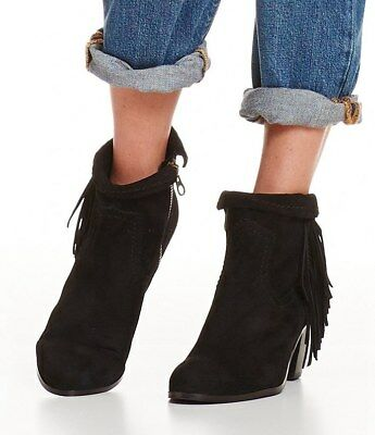 6bcd3a112d355f WOMENS SAM EDELMAN Ankle Booties Louie Fringe Black Suede Leather Boots 8.5M