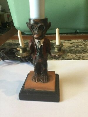 Vintage Statue Table Lamp Light Wood Monkey Butler In Suit Holding Candles