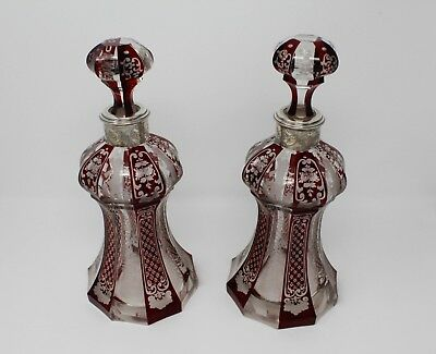 Pair of Bohemian Decanters, Ruby to Clear, SS Collars, c.1900