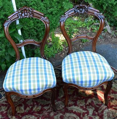 19th Century pair of Antique Victorian Rosewood Side chairs / Fire place chairs