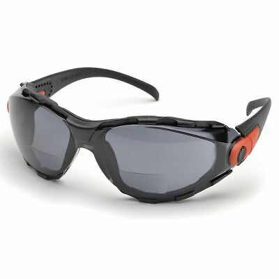 Elvex Safety Glasses w Bifocal RX +2.5 Gray Anti-fog UV Lens, Foam Lined Frame