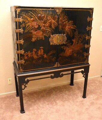 English 18th Century George III Chinoiserie Black Gold Lacquer Cabinet Chest VG