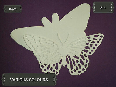 2pc Butterfly Die Cuts x8 sets Scrapbooking Card Topper Paper Embellishment