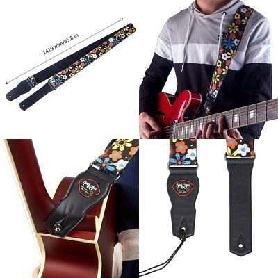 Guitar Strap Acoustic Electric Bass Leather Soft Cotton With Flower Adjustable