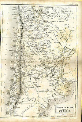 Antique print MAP engraving - 1842 - CHILE & BOLIVIA