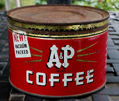 Vintage A&P One Pound Round Tin Can with Metal Cover
