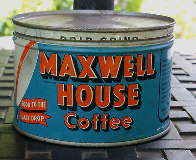Vintage Maxwell House Coffee One Pound Round Tin Drip Grind Can w/Metal Lid