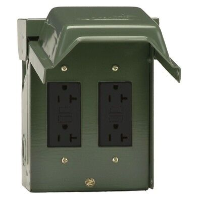 Backyard Outlet Outdoor 2-20 Amp with GFCI Receptacles Weather Resistant Gfi