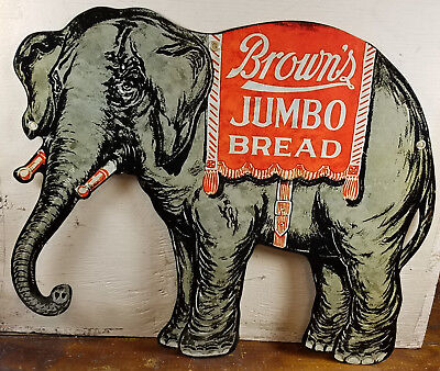 Browns Jumbo Bread Elephant Logo Heavy Duty Metal General Store Advertising Sign