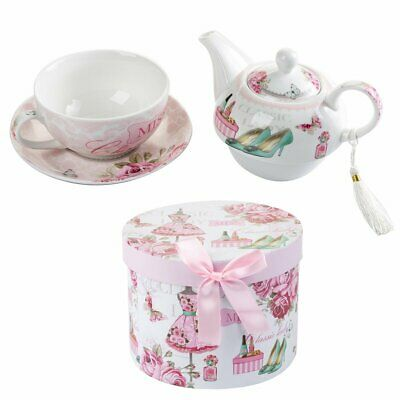 Porcelaine fine China Tea for One Teapot Cup suacer Set Shaby Chic Gift Box