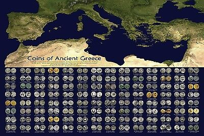 """36x24"""" Coins of Ancient Greece Poster"""