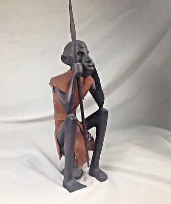 Vintage African Tribal hand carved Wood Warrior with Sword