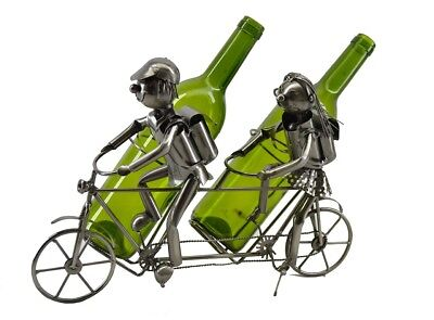 Happy Couple on Tamdem Cruise Bicycle Metal Wine Bottle Holder Character