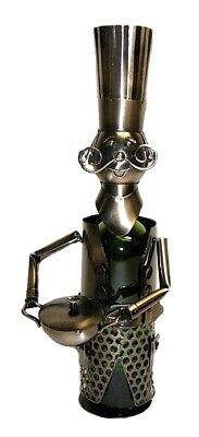happy Moustache Chef With Pot Metal Wine Bottle Holder Character. Wine Bodies