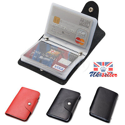 Genuine Soft Black Leather Credit Card Holder Wallet - 24 clear plastic pockets