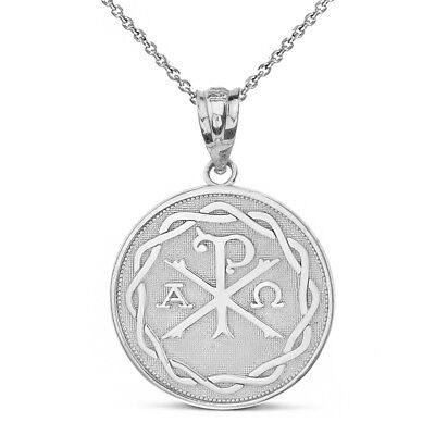 14k White Gold Ancient Christian Chi Rho Px Symbol Pendant Necklace