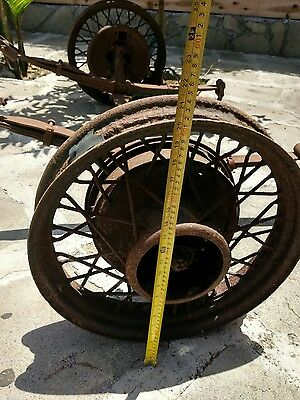 VINTAGE METAL RUSTIC Wagon Wheels with Axle and parts nice for decoration