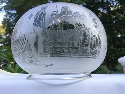 Antique Frosted Glass Gas Oil Lamp Shade  Roman Greek Scene 5'' Fitter & Holder