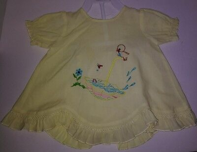 Vintage Fanta Care Yellow Baby Duck Bird 2Piece Hand Embroidered Dress Bloomers