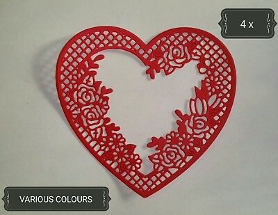 Large Ornate Lace Heart Die Cuts x4 Scrapbooking Card Topper Paper Embellishment