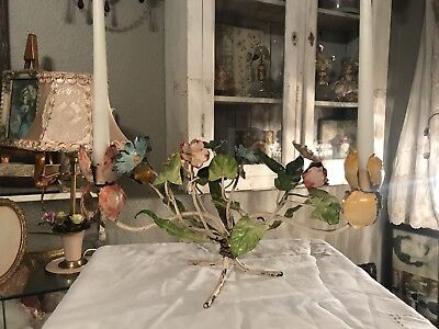 Vintage Italian Tole Candle Holder Rare Mixed Flowers & Leaves