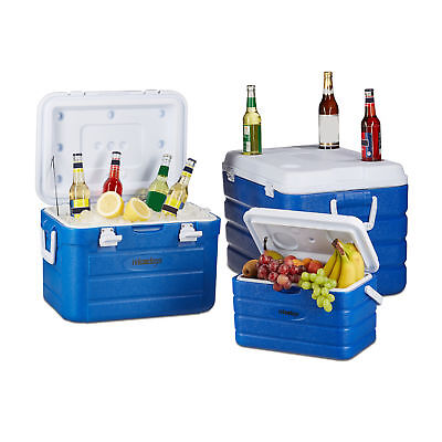 Set of 3 Coolers, Insulated Cool Boxes, 10-60L, with Handles, Portable Ice Box