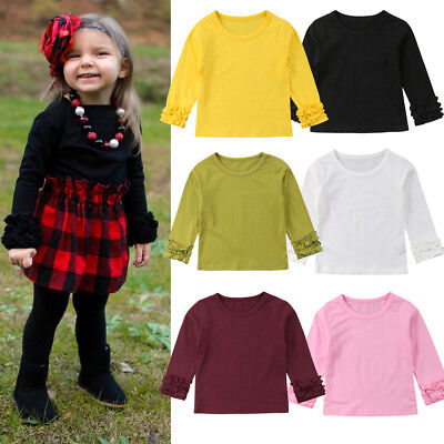 Toddler Baby Girl Cotton Long Sleeve T-shirt Solid Tops Blouse Crew Neck Tee UK
