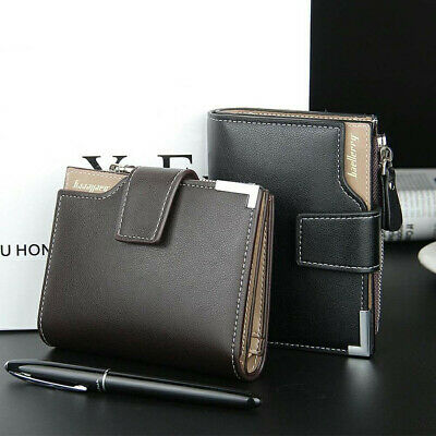 Men Leather Wallet ID Credit Card Holder Clutch Bifold Pocket Zipper Coin Purse