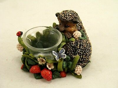 Bramble and Clover 1996 Hedgehog and Strawberries Votive Tea Candle Holder