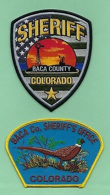 BACA COUNTY SHERIFF's OFFICE PATCH SET ~ COLORADO ~ BEAUTIFUL ARTWORK & COLORS