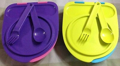 Tupperware  Divided Dish Set of 2 with Attractive Lid including Spoons n Forks