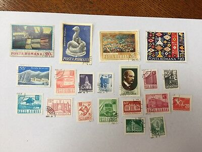 20 Romania Stamps used vintage -mostly 1970s or earlier